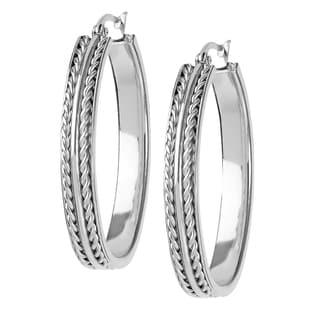 Women's Stainless Steel Oval Twisted Rope Hoop Earrings