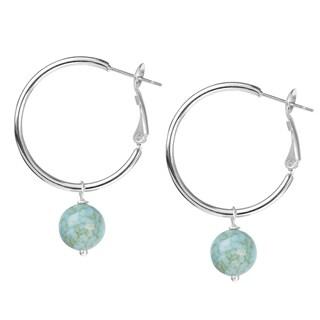 Women's Stainless Steel Hoop Earrings with Dangling Bead