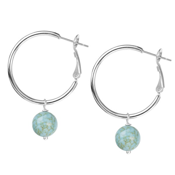 Women's Stainless Steel Hoop Earrings with Dangling Bead