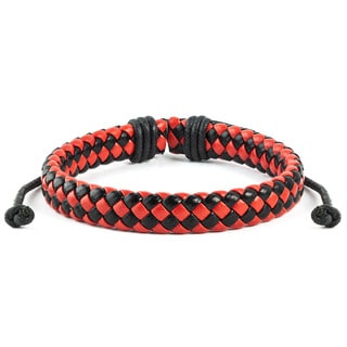 Red and Black Woven Leather Drawstring Bracelet (7.5 inches)