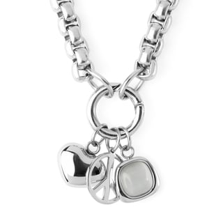 ELYA Stainless Steel Box Chain Heart and Peace Symbol Charmed Necklace