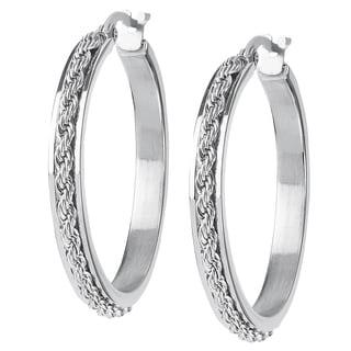 Women's Stainless Steel Rope Hoop Earrings