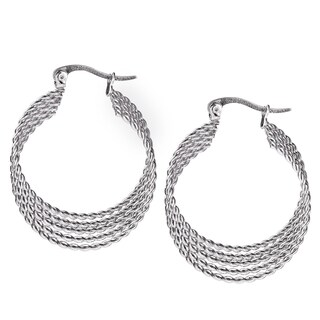 Women's Stainless Steel Four-Layer Twisted Rope Hoop Earrings