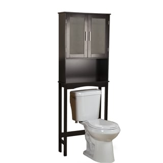 Danya B Over the Toilet Espresso Cabinet with Frosted Doors
