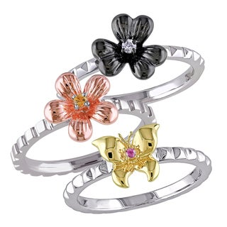 Miadora Tri-color Silver Multi-color Sapphire Bridal Ring Set