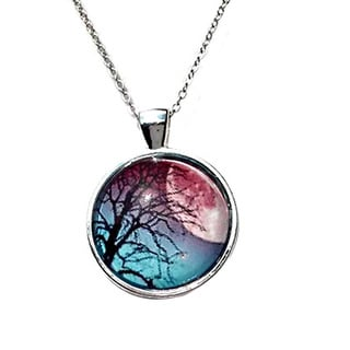 Atkinson Creations 'Full Moon Rising' Tree Glass Dome Pendant Necklace