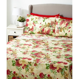 Glory Home 1000 Series 6-piece Sheet Set Red Floral Print