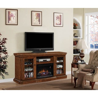 Beauregard 25-inch Classic Flame Indoor Electric Fireplace Media Mantel in Antique Caramel