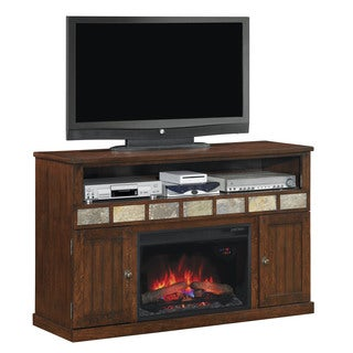 ClassicFlame 75119 Caramel Oak Margate TV Stand for TVs up to 60 inches with 26-inch Electric Fireplace