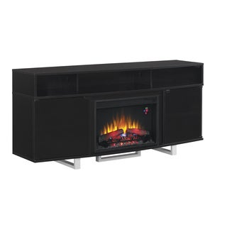 Enterprise 26-inch Classic Flame Indoor Fireplace Media Mantel in Glossy Black