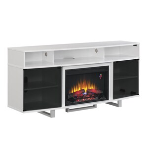 Enterprise 26-inch Classic Flame Indoor Fireplace Media Mantel in Glossy White