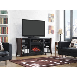 Marlin 26-inch Classic Flame Indoor Fireplace Media Mantel in Midnight Cherry