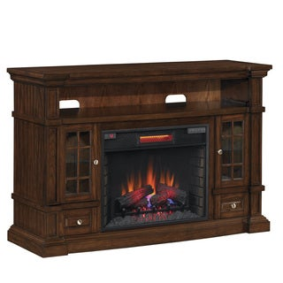 ClassicFlame 74938 Caramel Oak Belmont TV Stand for TVs up to 65 inches with 28-inch Electric Fireplace