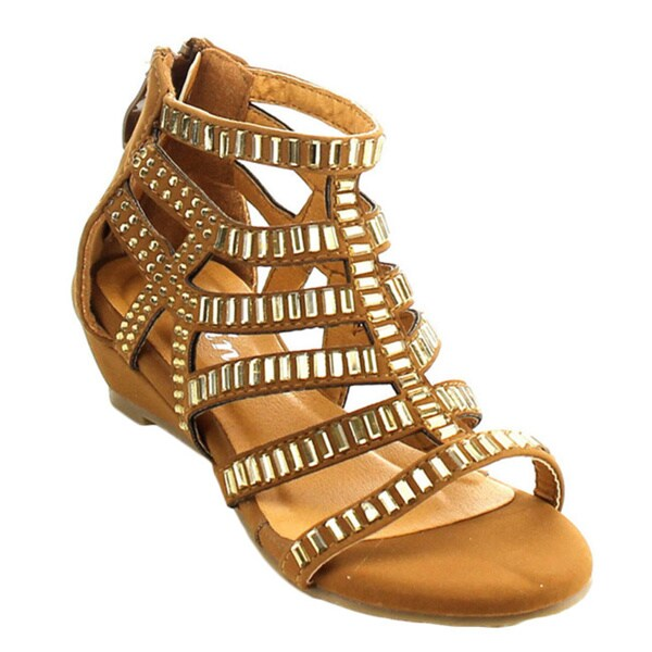 Link Award-22k Girls' Caged Style Metallic Rhinestone Strappy Back Zipper Sandals