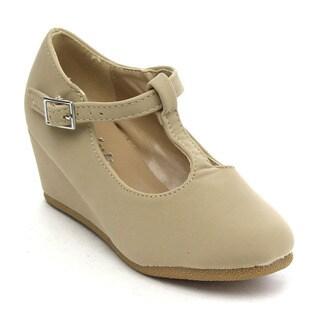 Link Patricia-04k Girls' Ankle Strap Pumps Heel Platform Wedge Shoes