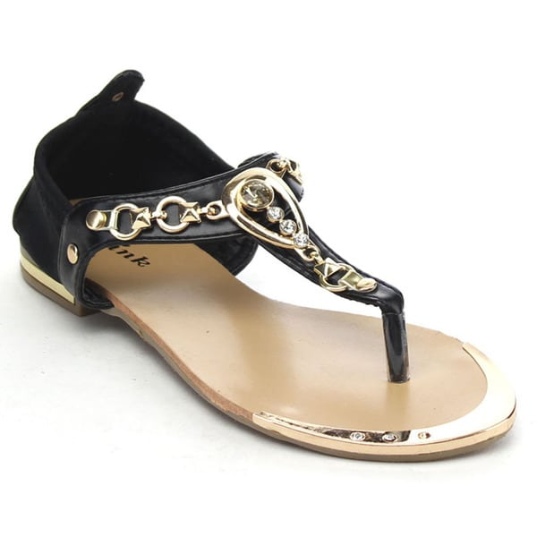 Link Tyler-25k Girls' Metallic Rhinestone Deco T-strap Thong Sandals