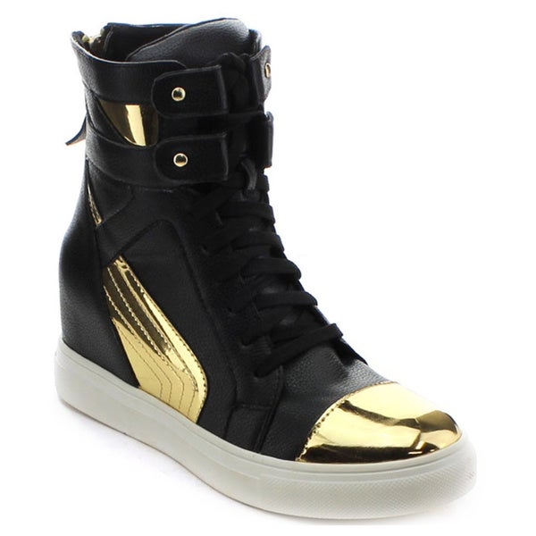 Jacobies Beverly Hills Vaness-9 Women's High Top Lace Up Concealed Wedge Sneaker