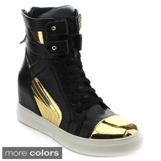 JACOBIES BEVERLY HILLS VANESS-9 Women's High Top Lace-up Concealed Wedge Sneaker