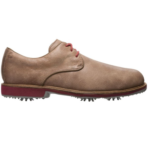 FootJoy Mens FJ City Tan-Crimson Golf Shoes
