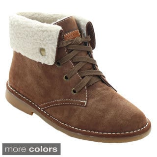 Nature Breeze Ease-02 Women's Soft Lace Up Fold Over Cuff Flat Ankle Booties