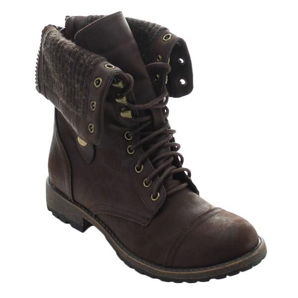 ... Breeze Galaxy-01 Women's Mid-calf Lace Up Rear Zipper Combat Boots