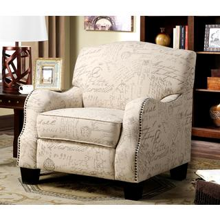 Dankona French Script Print Accent Chair with Nailhead Trim