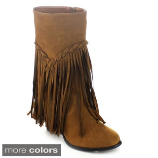 Axny Wyoming-5 Women's Chunky Stacked Heel Low Platform Fringe Mid-calf Boots