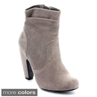 Bamboo MOZZA-16 Women Slouchy Chunky Heel Side Zip Ankle Boots