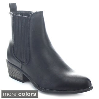 Bamboo Sadie-01 Women's Side Zipper Block Heel Elastic Riding Ankle Boots
