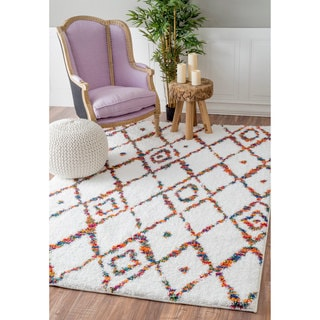 nuLOOM Soft and Plush Diamond Trellis Multi Kids Shag Rug (5'3 x 7'8)