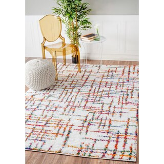 nuLOOM Soft and Plush Stripes Multi Kids Shag Rug (5'3 x 7'8)