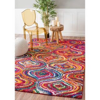 nuLOOM Soft and Plush Trellis Multi Kids Shag Rug (5'3 x 7'8)