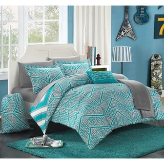 Chic Home Amaretto Chevron and Geometric Reversible 10-piece Comforter Set