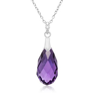 10 1/2 Carat Briolette Amethyst and Diamond Necklace In Sterling Silver, 18 Inches