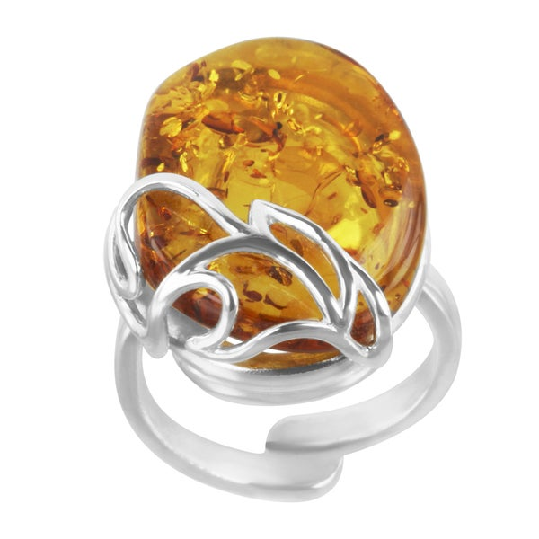 Sterling Silver Oval-cut Baltic Orange Amber Adjustable Ring
