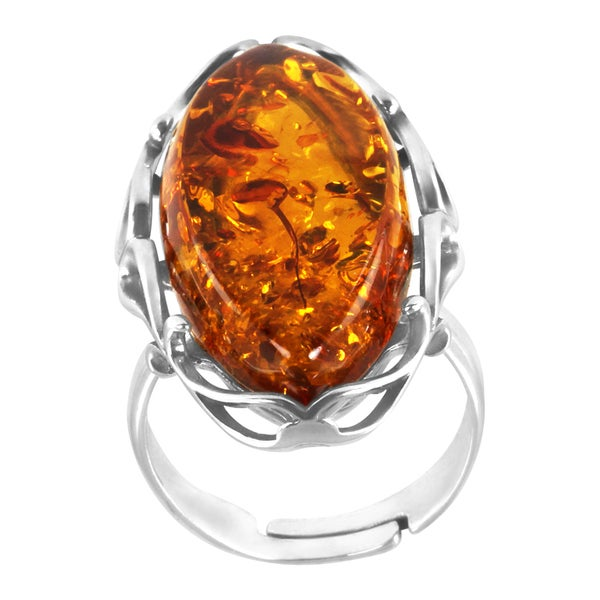 Sterling Silver Marquise-cut Amber Adjustable Ring