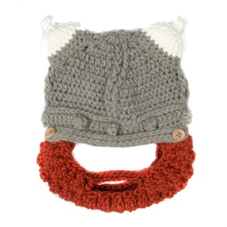 Crummy Bunny Children's Hand Knit Grey Viking Hat with Removable Beard