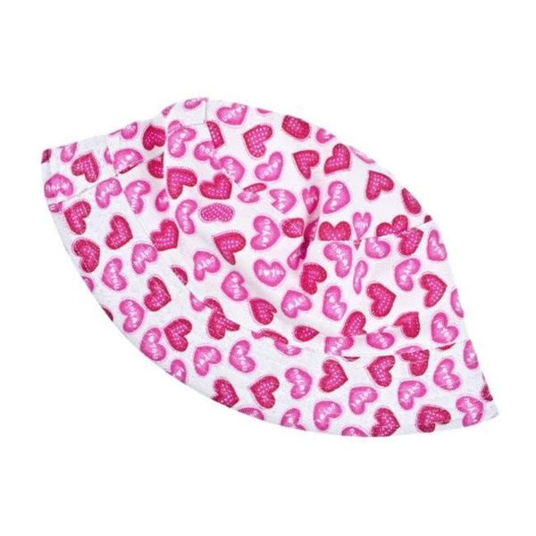 Crummy Bunny Girls' Pink Hearts Sun Hat