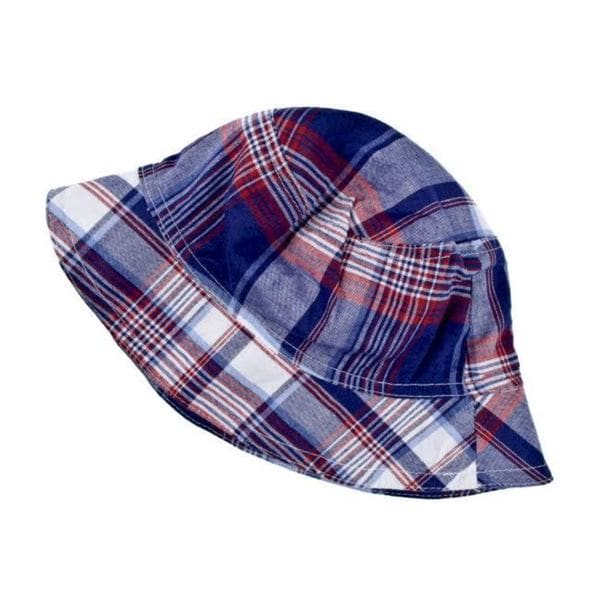 Crummy Bunny Boys' Red/ Blue Plaid Sun Hat