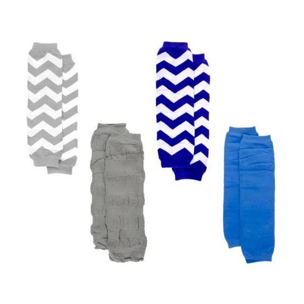 Crummy Bunny Boys' Blue and Grey Chevron Leg Warmers (Set of 4)