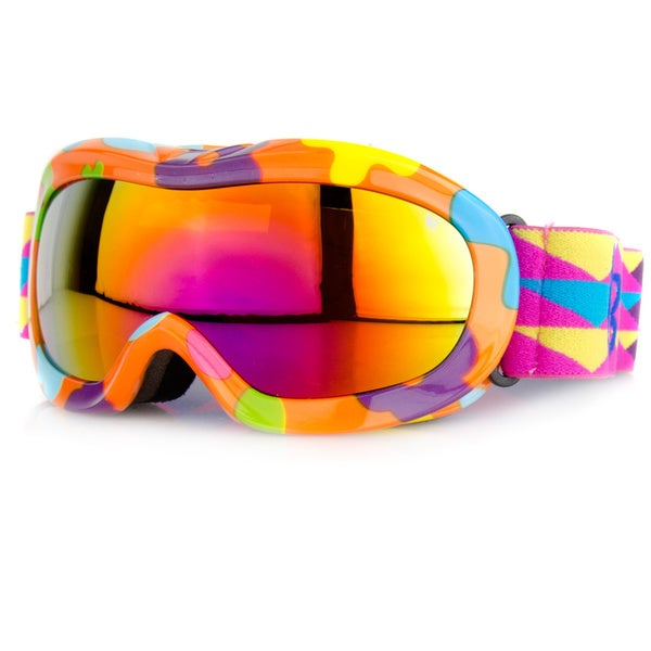 Crummy Bunny Children's Orange Flowers Ski Goggles