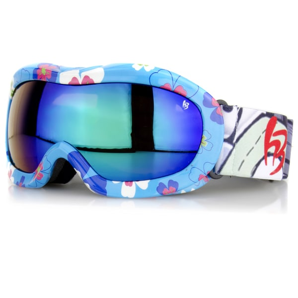 Crummy Bunny Children's Ski Goggles Blue Flowers