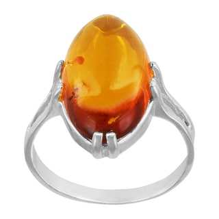 Sterling Silver Oval-cut Baltic Amber Ring