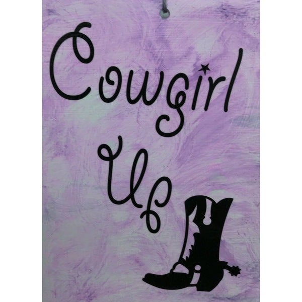 Cowgirl Up Ceramic Tile with Vinyl Sign