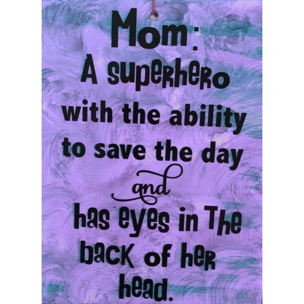 Mom SuperHero Ceramic Tile with Vinyl Sign