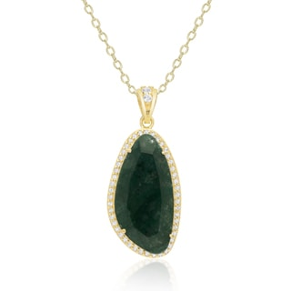Dolce Giavonna Gold Over Silver or Sterling Silver Gemstone Necklace