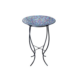 18-inch Mosaic Glass Birdbath with Metal Stand