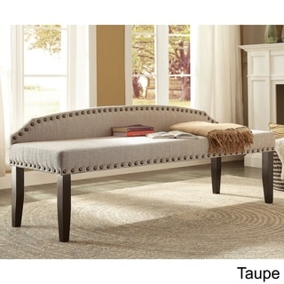Furniture of America Emira 63.5-inch Flax Upholstered Food-board Accent Bench