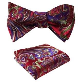 Dmitry Men's Paisley Jacquard Woven Self Bow Tie Set