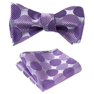 Dmitry Men's Large Polka Dot Jacquard Woven Self Bow Tie Set